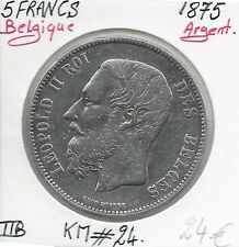BELGIQUE - 5 FRANCS - Léopold II - 1875 - Monnaie en Argent // Qualité: TTB
