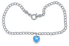 1 Carat Blue Topaz 6mm Bezel Heart Bracelet .925 Sterling Silver