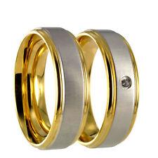 2 Edelstahl L316 bicolor gold / silber Partnerringe Eheringe incl. Gravur 40P164