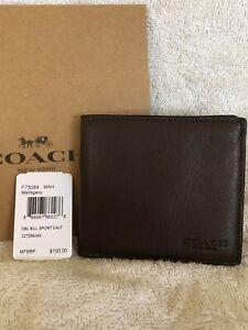 COACH Double Billfold Leather Wallet Men's - #F75084 - Mahogany - NWT $150
