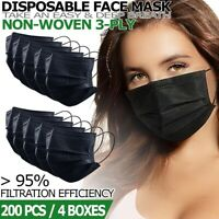 Black Disposable 3-Ply Face Mask [200 PCS] Non Medical Earloop Dust Cover Masks