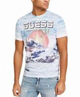 Guess Mens T-Shirt Blue Size Small S Ski Logo Crewneck Graphic Tee $44 #220