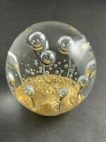 Vintage LARGE ART GLASS ROUND PAPERWEIGHT CRYSTAL CLEAR BUBBLES DECOR