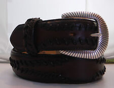Justin New Bold Stitching Leather Belt  Size 36 Silver Plated Brown C11145