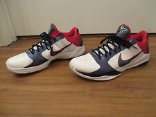 Used Worn Size 13 Nike Zoom Kobe V Team USA Shoes White Obsidian Blue