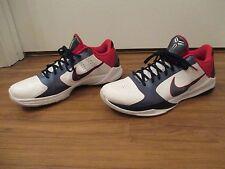 Used Worn Size 13 Nike Zoom Kobe V Team USA Shoes White Obsidian Blue