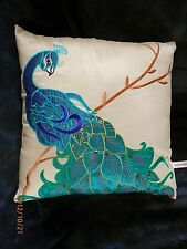 Exquisite Decorator's  PeaCocK PILLOW sequins beads turquoise teals cream   NEW