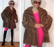 Vintage Nice Faux-Fur Striped Mink-Like Brown Jacket Coat Large Collar M