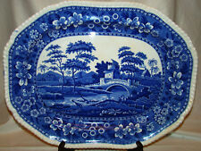 "Spode Transferware Antique Spode's Tower Blue Transfer Serving Platter 19"" 1895"