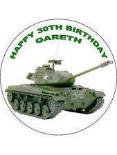 7.5 ARMY TANK EDIBLE ICING BIRTHDAY CAKE TOPPER