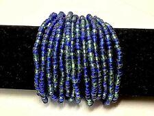 Ethical Wood & Bead Multi Strand Stretch Cuff Bracelet Handmade Blue & Green