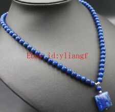New 6mm Natural Lapis Lazuli Round Beads + Square Pendant Gemstone Necklace 18''