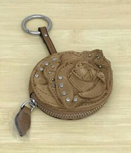 Vera Bradley Rosy Outlook Leather Bag Charm Studded in Toasted Hazelnut