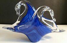 Murano Lavorazione Art Glass Cased Letter Napkin Holder Blue Swirl Hand Blown