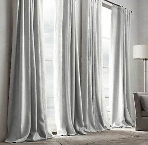 RH RESTORATION HARDWARE White Belgian Textured Linen Drapes 50 x 108