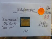 WEST AUSTRALIA POSTMARK ON SWAN STAMP ROEBORUNE OB 12-30 1880-1899 ON 2d