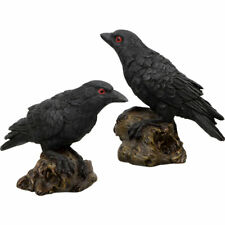 NEW Pair of Raven Figurines Cast Resin Miniature Crow Collectible Set