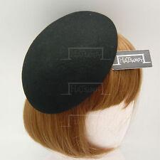 VINTAGE Wool Felt Women Beret Pillbox Hat Ladies DIY Plain Fascinator   Black