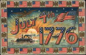 4th Fourth of July Battleship Sunset American Flag Border c1910 Postcard