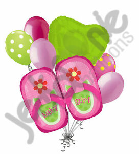 7 pc Pink & Lime Shoes Baby Girl Balloon Bouquet Party Decoration Welcome Shower
