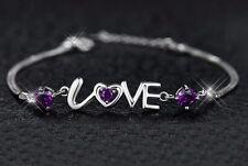 Sterling Silver Swarovski Element Crystal Amethyst Heart Love Bracelet Box B15