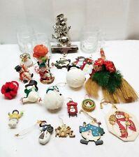 Vintage Christmas Tree Ornaments Decoration Snowman Coffee Mug Stocking Hangar