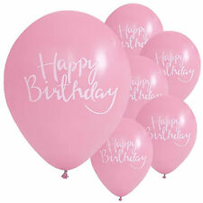 10 Happy Birthday Pink White Elegant Party Decorations Latex Printed Balloons
