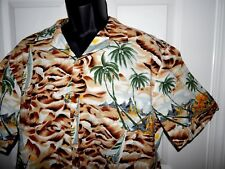 KALAHEO Vintage Hula Tiki Sailboat Island Mens Cotton Hawaiian Shirt size Medium