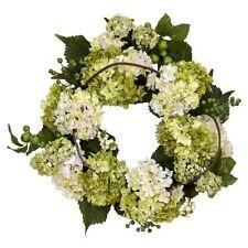 Nearly Natural 4780 Hydrangea Wreath- 22-Inch- Cream/Green