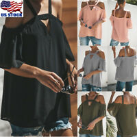 Women Cold Shoulder Loose Tops Casual Blouse T Shirts Summer Short Sleeve Tee US