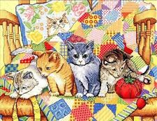 """Design Works Counted Cross Stitch Kit 14"""" x 18"""" ~ ROCKING CHAIR KITTENS #2922"""