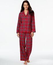 Charter Club Flannel Notch Collar Top and Pajama Pants Set Plaid XL