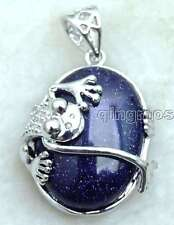 25*20mm Oval Blue Flash Agate with Crawl Frog Design Pendant for Women pen252