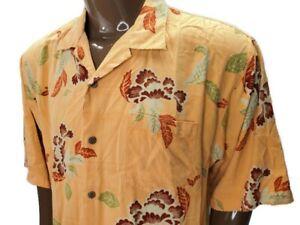 Tommy Bahama Mens Hawaiian Shirt Button Up Coral Floral Size XL Silk