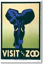 Visit The Zoo - Blue Elephant WPA - NEW Classic Vintage Art Print POSTER