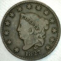 1827 Coronet Head Large Cent US Copper Type Coin Fine 1c K48