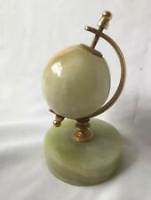 Vintage Marble Miniature Glob With Brass