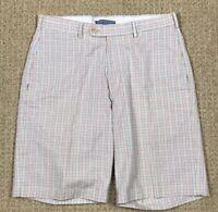 Peter Millar Plaid Flat Front Pima Cotton Shorts Size 30 EUC!!