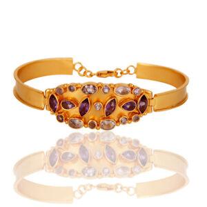 Yellow Gold Plated 925 Silver Amethyst Gemstone Bangle / Bracelet Jewelry