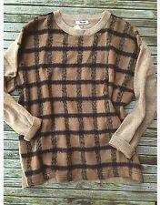 NEW Madewell Alexa Chung Fur Plaid Sweater Tan Jcrew Longsleeve Pullover Knit M