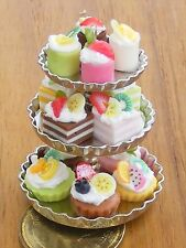 1:12 Scale New Metal 3 Tier Stand With Assorted Cakes Dolls House Food Accessory