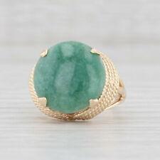 Green Jadeite Jade Ring 14k Yellow Gold Size 6.25 Round Solitaire