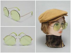 Retro Vintage Round Lens Green Sunglasses Janis Joplin Flower Child Hippy Style