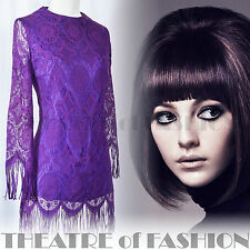 VINTAGE 60s DRESS LACE 14 16 12 42 44 40 14 10 CROCHET BOHO 70s HIPPY SHUBETTE