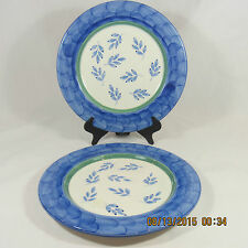 Villeroy & Boch Blue Waves salad plates set 2 blue leaves green band