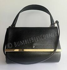 CAROLINA HERRERA Calfskin Pebbled Leather CH Logo Black Shoulder Bag HandBag NWT