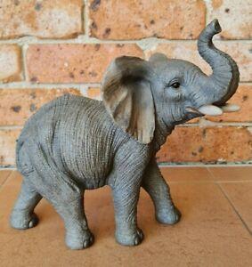 Outdoor Garden Resin Zoo Animal Statue Ornament Grey Elephant Trunk Up Standing
