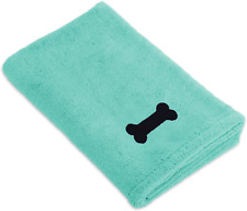 Bone Dry Dii Microfiber Dog Bath Towel With Embroidered Paw Print Green