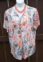 CJ Banks NEW floral top shirt Plus Size 2x vneck dragonfly EASTER SPRING blouse