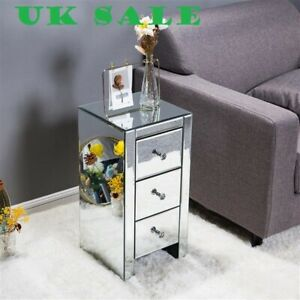 Bedside,Livingroom,Mirrored Glass Bedside Table,Three Drawers Size S,UK Sale